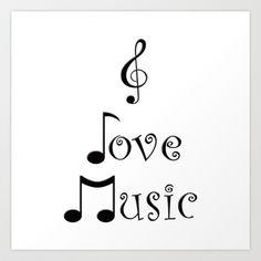 """I Love Music"" Art Print by Moonshine Paradise - $22.88"