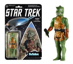 "Boldly collect what no man has collected before! Based on the popular episode, ""Arena"", the Gorn is in a simplified retro Kenner format, making him a must-have for all Star Trek: The Original Series fans! This 3 3/4-inch tall ReAction Star Trek Gorn Action Figure has 5 points of articulation and features the 1980s style card back design."
