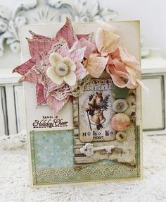 Beautiful shabby Christmas card by Melissa Philips, Lilybean's Paperie