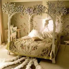Bedroom,Unique Bed Design Inspiration With Awesome White Tree Canopy Bed And Cute White Floral Ornament Bed Cover Plus Soft White Pillows Also Stylish Corner Study Space Using Pretty Floral Wall Decal,Amazing Beds With Interior Bedroom Decoration Tree Bed, Tree Canopy, Canopy Beds, Canopy Bedroom, Diy Canopy, Bed Curtains, Wood Canopy, Backyard Canopy, Garden Canopy