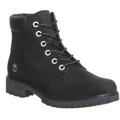 Timberland Slim 6inch Premium Boots ($200) ❤ liked on Polyvore featuring shoes, boots, black nubuck, hers exclusives, women, black bootie boots, short lace up boots, black lace up boots, black chukka boots and waterproof boots