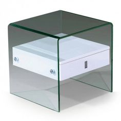 Modern Glass White End Table With Drawer Bella