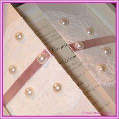 DIY Wedding Invitation - 14.85cm Gate Card with Lace & Pearls