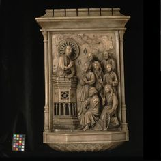 St James (?) preaching (Panel) - V  A, France, late 15th C, carved  painted alabaster