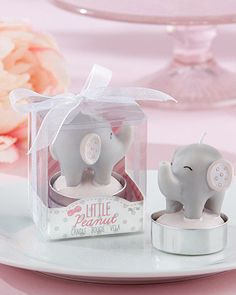 This adorable little elephant candle will light up any baby shower. Each candle comes in a gift box and tied with an organza ribbon. Pair this gift with a set of personalized matches for a truly delightful baby shower favor.