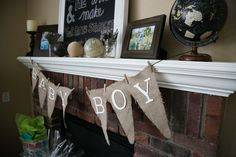Ideas for decorating a mantel for a baby shower