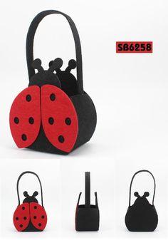 Easter beetle felt basket. Ladybug bag.  Description:        ● Material:3MM+2MM felt    ● Size:12.5*8*15CM    ● Big logo printing area    ● OEM design is welcome www.ideagroupigm.com