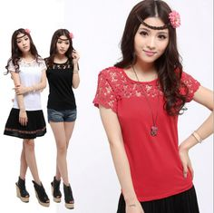 Modern Chinese Style Top - Modern Cheongsam Top -Lace Spring Flowers (Red/ Black/ White) $64.00 (48,22 €)