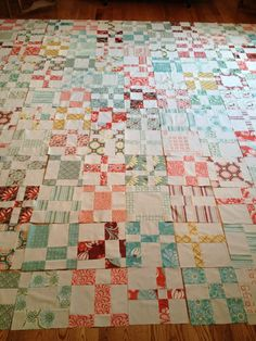 Quilt top in progress - Kate Spain fabrics. Quilt sewn by Kelly Maron Horvath.  Based on Wee Woodland pattern by Keiki / moda
