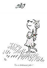 La Déviation Rue Goscinny Le petit Nicolas Cartes Postales Moi, je serais la plus belle de toutes et toi, tu m'apporterais des fleurs