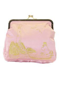 Pink large embroidered Moomin clutch bag by Ivana Helsinki Moomin Shop, Marimekko, Helsinki, Clutch Bag, Shoulder Strap, Coin Purse, Wallet, Purses, Stylish