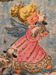 1950s Vintage Angel Lambs Pink Turquoise Clouds Glitter Christmas Greeting Card