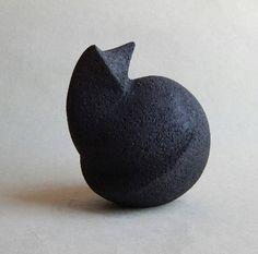 Ceramic sculpture,black cat,Christmas,figurine cat,animal,black,art,interior,minimalism,hand made ceramics,home decor,black sculpture
