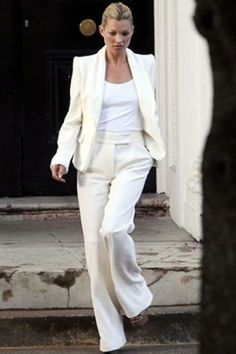 Kate Moss : tailleur blanc