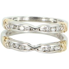 Pre-Owned Diamond Wedding Ring Guard Wrap Vintage 14k White Gold ($395) ❤ liked on Polyvore featuring jewelry, rings, white gold, tri color wedding rings, diamond wedding rings, 14k ring, vintage rings and pre owned diamond rings