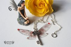 Fairy wing necklace. Glitter jewelry. Harry potter necklace. Key necklace. Available in six colors