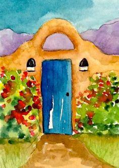 """Original Watercolor by J Irwin """"Southwest"""" Desert"""