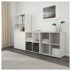 EKET Storage combination with feet, white/light gray - white/light gray - IKEA At Home Furniture Store, Modern Home Furniture, Girls Bedroom Storage, Bedroom Girls, Ikea Eket, Ikea Small Spaces, Muebles Living, Small Shelves, Trendy Bedroom