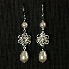 Pearl Wedding Jewelry  Long Pearl Wedding Earrings by plumbcrazy, $36.00