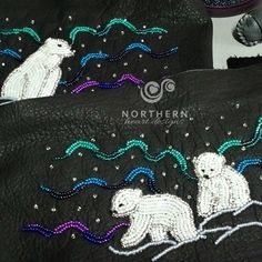 Mother and baby bears Northern light panels Native Beading Patterns, Bead Embroidery Patterns, Beadwork Designs, Seed Bead Patterns, Native Beadwork, Native American Beadwork, Beaded Embroidery, Bead Sewing, Beaded Lanyards