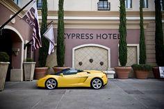 Gallardo in front of The Cypress Hotel in Cupertino, CA 2007 Lamborghini Gallardo, Yellow Car, Basketball Players, Shoe, Green, Zapatos, Shoemaking, Footwear, Shoes