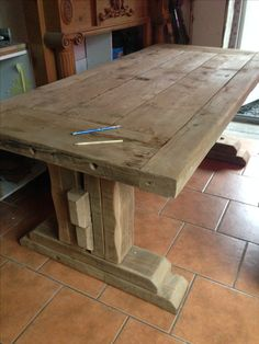 Diy Furniture Tv Stand, Simple Furniture, Furniture Projects, Rustic Furniture, Table Furniture, Barn Table, Table Cafe, Diy Dining Table, Dinning Room Tables