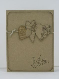 handmade Valentine ... monochromatic kraft ... three hearts on a string ... clean and simple ...