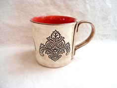 Large Ceramic Mug, Coffee Cup, Hand Built Victorian Lotus Flower Design Pantone Fall Aurora Red