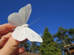 Weiße Schmetterlings Hochzeitshaarklammer von Sonja Sonnenschein auf DaWanda.com