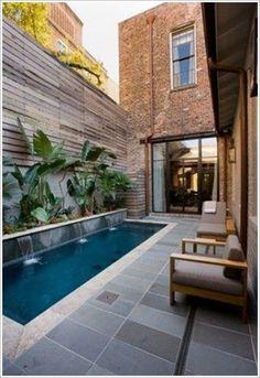 Small Inground Pool, Small Swimming Pools, Small Backyard Pools, Small Pools, Swimming Pools Backyard, Swimming Pool Designs, Small Patio, Pool Landscaping, Lap Pools