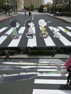 Pedestrian Crossing Street Art Combo ~ I always wonder how long people stand in the middle of an intersection to view this angle and snap a photo.