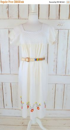 MOVING SALE Ethnic ivory embroidered floral woven vintage baby doll dress