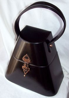 1920's MILGRIM Black Leather Box Purse.  Copper Clasp