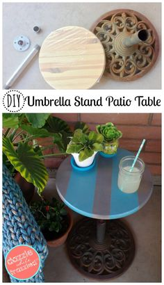 Re-purpose umbrella stand into DIY patio side table for easy garden decor. How to build an outdoor table easily.