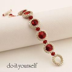 PDF Siam Eyes Bracelet step by step por en Etsy Bead Jewellery, Seed Bead Jewelry, Beaded Jewelry, Handmade Jewelry, Jewlery, Beaded Bracelet Patterns, Jewelry Patterns, Beading Patterns, Beading Tutorials