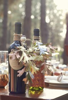 *A Taste of Autumn...twine tied, with felted acorns and sprayed autumn leaves wine bottle- gift for the hostess