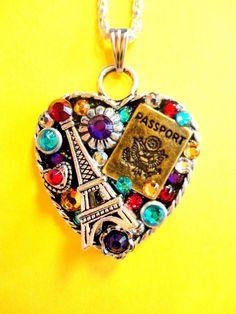 I Love Paris Heart Pendant by BradosBling on Etsy, $39.99