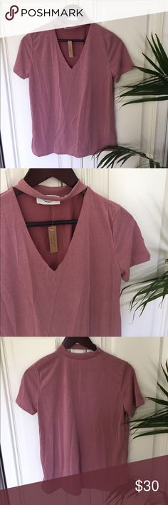 Dusty Rose Choker Tee NWOT. Color is perfect for Spring and this style is so in right now. Very versatile🌺🌸🌺 Tops Tees - Short Sleeve
