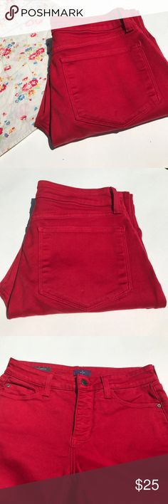 NYJD Legging jeans Great condition red Alina Leggings with Lift Tuck Technology. Inseam measures 31.5 inches waist measures 14 inches across laid flat. NYJD Pants Leggings