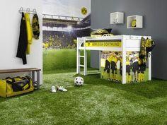 Cuartos tema fútbol Boys Football Bedroom, Soccer Bedroom, Football Rooms, Kids Bedroom, Baby Boy Rooms, Bedroom Themes, Dream Bedroom, Decoration, Caillou