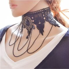 Womens Choker Necklace Fashion Lace Tie Denim Gothic Tribal Adjustable Gifts