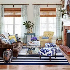 A comfortable family friendly style. With a grey and indigo color pallets. Would love drapes like these at home