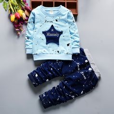 13.64$  Buy here - Boys cotton lacquer point star long sleeve suit   Sets of clothes for boys girls Camouflage stars long sleeves  #buychinaproducts