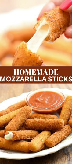 Breaded Mozzarella Sticks with Marinara Sauce is part of food-recipes - Homemade Mozzarella Sticks with marinara sauce are perfect for a party or game day Gooey and melty on the inside and golden and crunchy on the outside, they're absolutely addicting! Homemade Mozzarella Sticks, Homemade Cheese Sticks, Easy Cupcake Recipes, Free Recipes, Clean Eating Snacks, Appetizer Recipes, Party Appetizers, Cheese Appetizers, Party Desserts