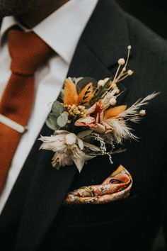 Dried flowers groom buttonhole in coral and orange. Autumn Bride, Autumn Wedding, Boho Wedding, Luxury Wedding, Wedding Dress, Dried Flowers, Fresh Flowers, Wedding Color Schemes, Wedding Colors