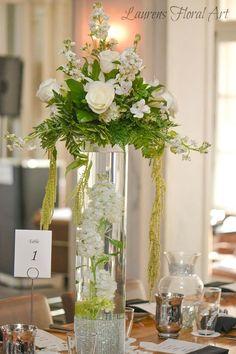 Soaring centerpiece. Greenery Centerpiece, Elegant Centerpieces, Flower Centerpieces, Flower Decorations, Wedding Centerpieces, Centrepieces, Tall Floral Arrangements, Wedding Flower Arrangements, Altar Flowers
