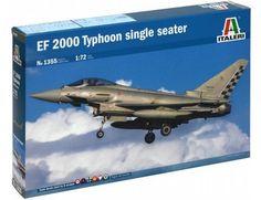 The Italeri 1/72 EF-2000 Typhoon Single Seater Model Kit from the plastic aircraft model kit range accurately recreates the real life advanced European multi-role jet.