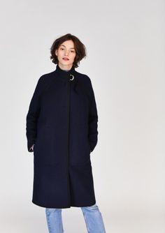 Manteau bleu nuit et noir mi-long en lainage double-face Tara Jarmon, Parka, Mi Long, Normcore, High Neck Dress, Collection, Dresses, Style, Fashion