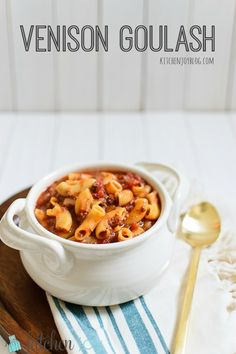 Venison goulash is a hearty one-pot meal that is the perfect comfort food for figure-conscious winter menus. Elk Recipes, Wild Game Recipes, Cooking Recipes, Cooking Games, Recipes With Deer Meat, Burger Recipes, Sausage Recipes, Cooking Classes, Ground Venison Recipes