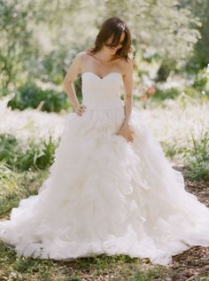 ball gown, lace, organza, ruffles, silk, strapless, sweetheart, wedding dress, white, , bridal, dress, dresses, natural